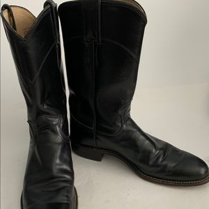 Justin Cora Black Leather Cowboy Roper Boots 7 A